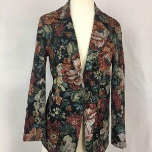 Oversize Vintage Tapestry Floral Print Blazer